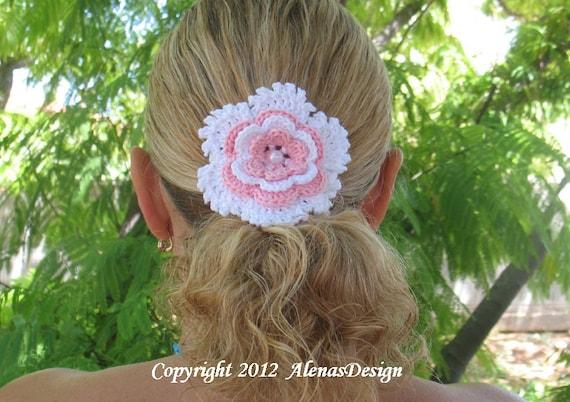 Crochet Pattern 060 Crochet Flower Pattern Flower Clip Etsy