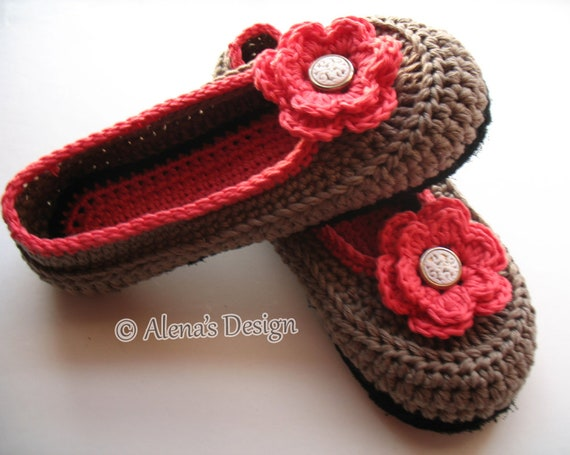 921f6c657e6de Crochet Pattern 074 Women's Slippers Amy in seven sizes Teen Ladies Women  Adult Shoes Boots Slippers Crochet Patterns Booties Flower Red