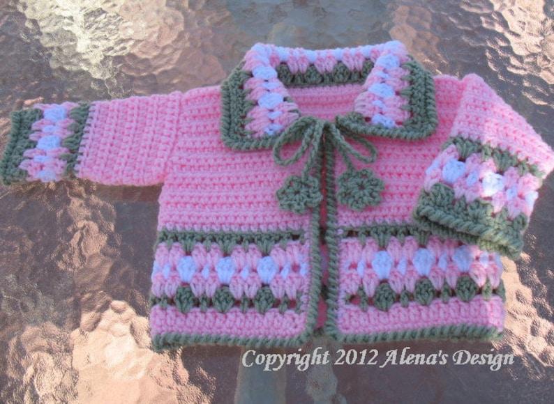 8afef009d Crochet Pattern 045 Blossom Baby Jacket 3 6 12 24