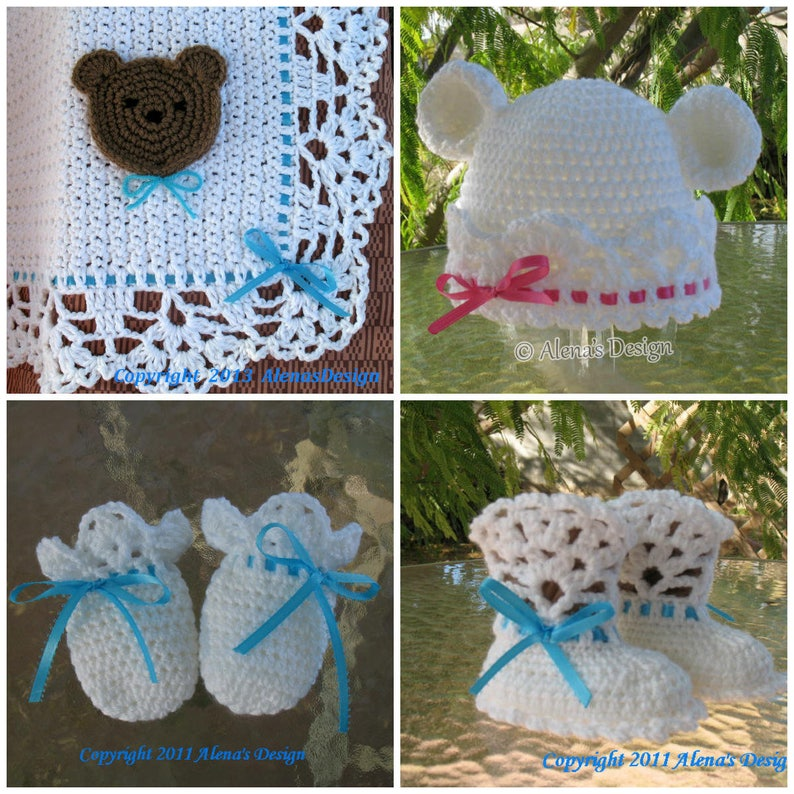 f4d31d0626b84 Crochet Pattern 4 PC Set White Bear Hat Baby Booties Baby Little Bear  Blanket Thumb-less Mittens Lace Booties Baby Boy Baby Girl Toddler
