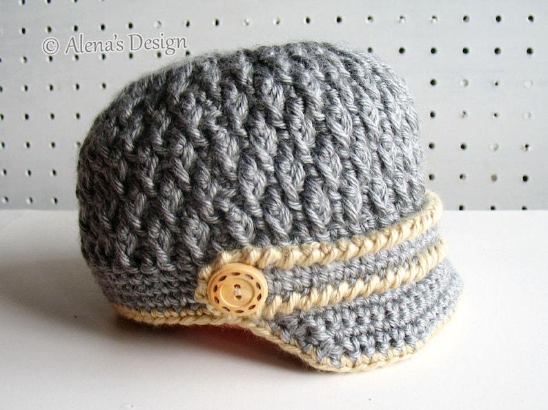 8dc12317378 Crochet Pattern 092 Two-Button Visor Hat Newborn Baby Boy Baby