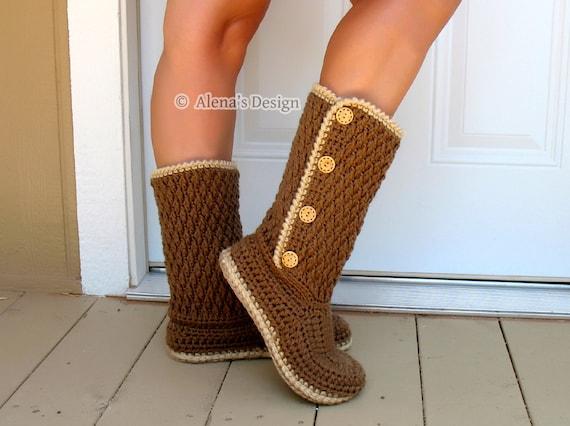 Crochet Pattern 137 Buttoned Womens Boots Crochet Boot Etsy