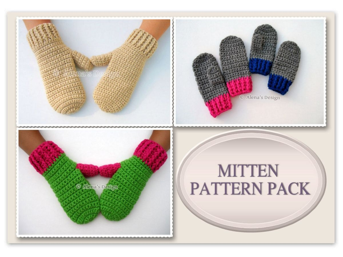 Mitten Pattern Pack Crochet Patterns Adult Mittens Crochet Etsy