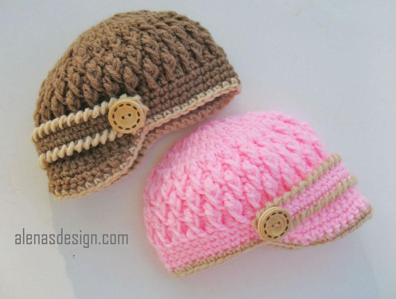 46001674b9b Crochet Pattern 092 Two-Button Visor Hat Newsboy Cap Newborn