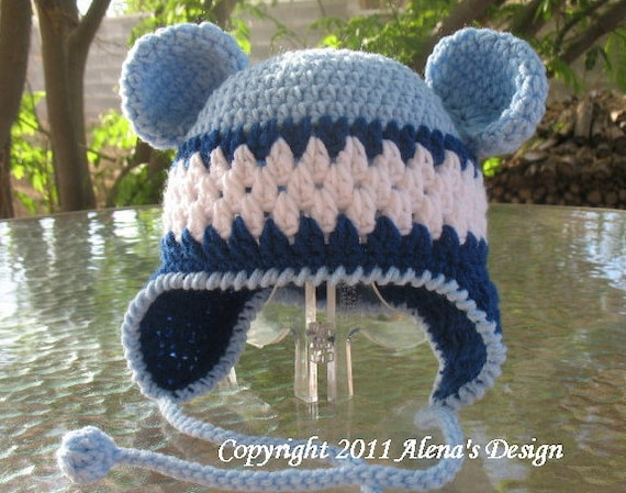 c1382ee84e4 Crochet Pattern 002 Hat with Bear Ears  Blue Crochet Hat