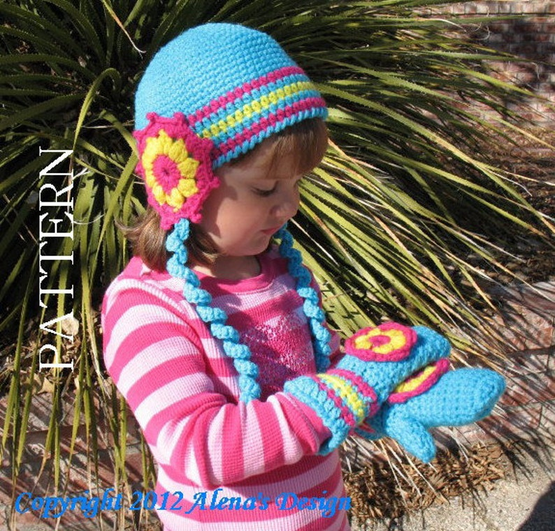 fe8619f9b92a2 Flower Earflap Hat Children's Mittens Crochet Patterns Curly Ties Ear Flaps  Baby Girl Toddler Children Teen Adult Turquoise Blue Pink Winter