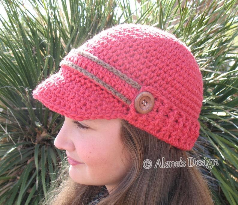99c896352f080 Crochet Hat Pattern Visor Beanie with Ribbed Brim