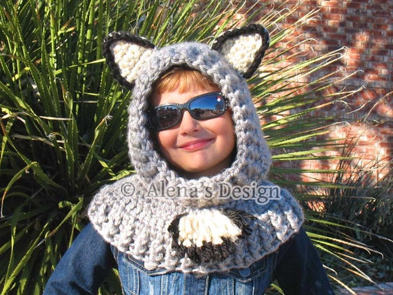 12285ea86d8 Crochet Pattern 120 Crochet Hooded Cowl with Ears Crochet
