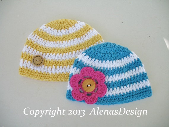 Crochet Pattern 097 Crochet Hat Pattern Stripe Baby Hat With Etsy