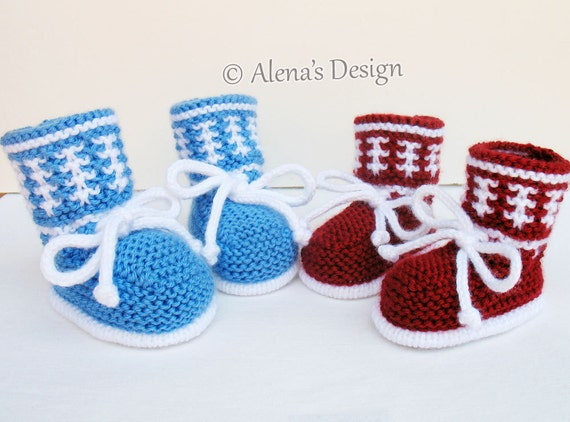 Knitting Pattern 033 Knitting Booties Pattern Baby Booties Knitting Patterns High Top Baby Booties Newborn Baby Boys Baby Girls Red Blue