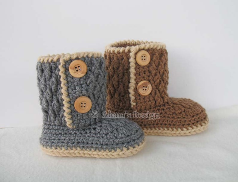 Two Button Toddler Booties Crochet Pattern 107 Crochet Boot Etsy