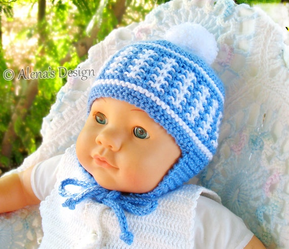 Knitting Pattern 017 Knitted Pom Pom Ear Flap Hat Newborn Baby Etsy