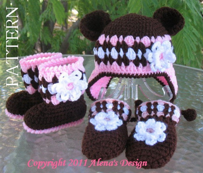 5ea76b5d244a2 Crochet PATTERN Set - Bear Hat , Baby Booties and Baby Mittens - Baby Girl  - Winter Booties - Brown Booties - Slippers - Ear Flap Hat Child