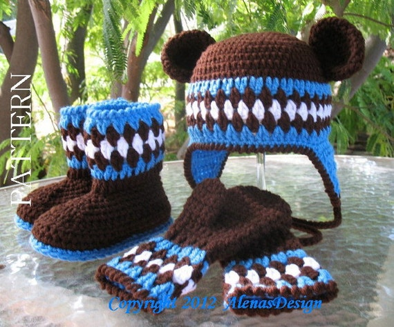 ad62b2624e4 Crochet PATTERN Set Bear Hat Toddler Booties and