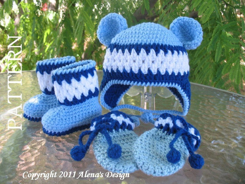 4c740916fe6 Crochet PATTERN Set Blue Bear Hat Baby Booties Baby