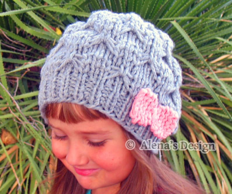 8c5b34a8f07 Knitting Pattern 095 Slouchy Beanie Hat with Pink Bow Knitting