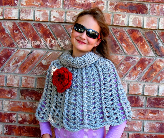 Crochet Pattern 111 Chic Rose Poncho Wrap Cowl Neck Warmer Etsy