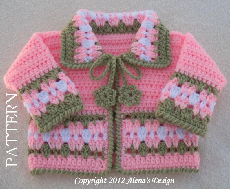f4df28248 Crochet Pattern 045 Blossom Baby Jacket 3 6 12 24