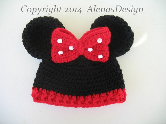 Crochet Pattern 098 Baby Minnie Mouse Hat Mickey Mouse Etsy