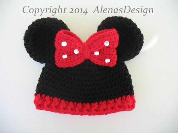 Crochet Pattern 098 Baby Minnie Mouse Hat Mickey Mouse  b87474ca615