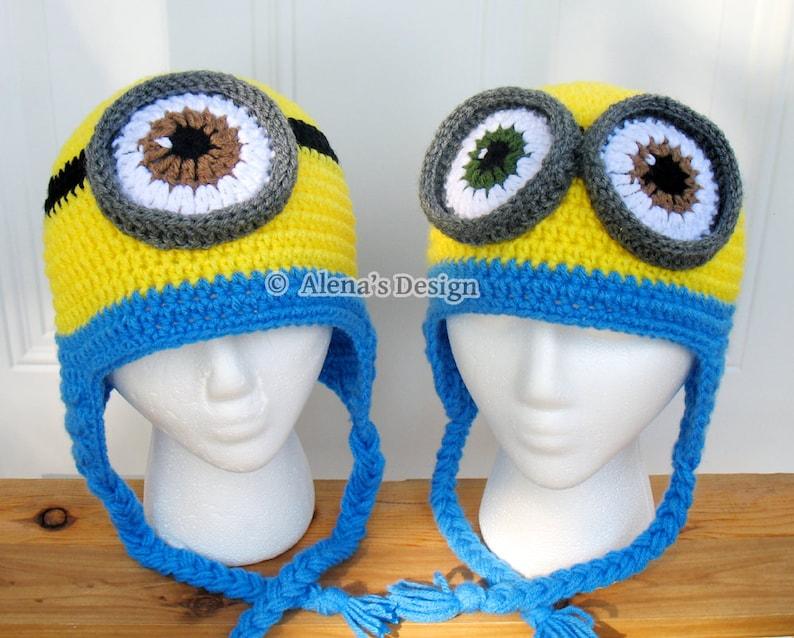 Crochet Pattern 200 Crochet Hat Pattern Minion Hat Ear Flap  b59aae2afa9e