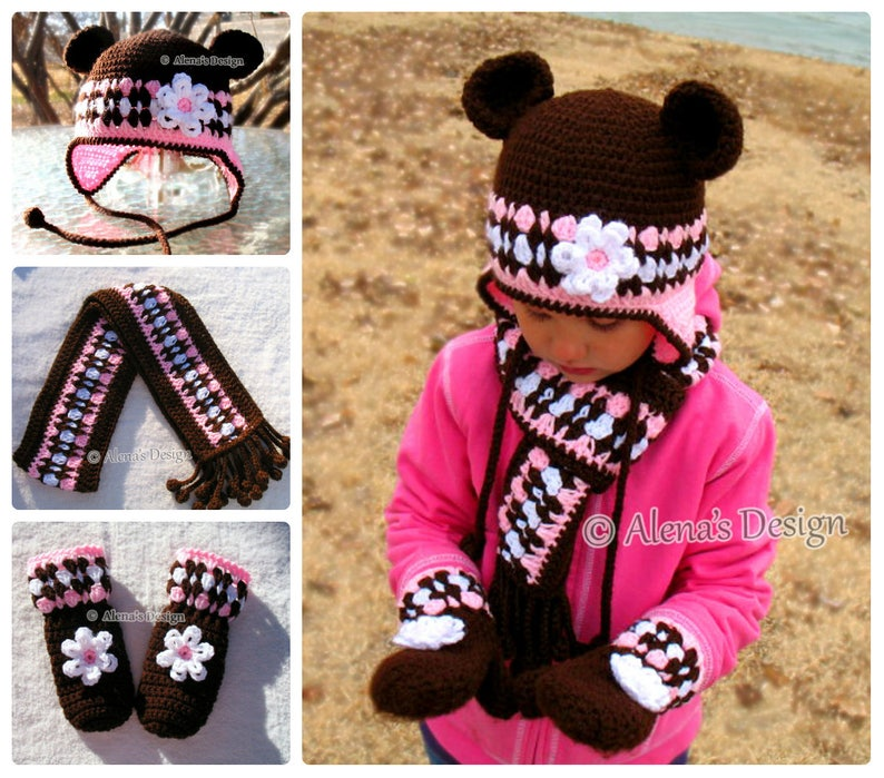 1f2659c5a9a86 Crochet PATTERN Set Bear Hat Children's Mittens Scarf Girls Toddler Child  Winter Set Earflap Hat Adult Scarf Brown Pink Mittens Christmas