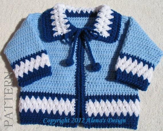 38a3069b3 Crochet Pattern 046 Blue Baby Jacket 3 6 12 24 months
