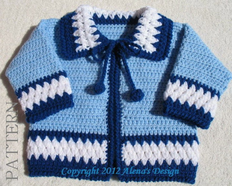 4c2e7c2e1 Crochet Pattern 046 Blue Baby Jacket 3 6 12 24 months