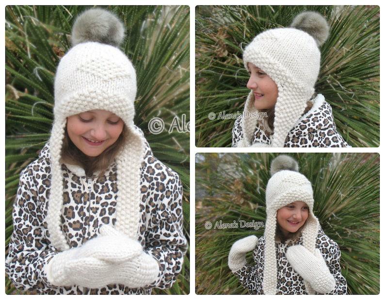21051ea103a Knitting Pattern 201 Knitted Earflap Hat Faux Fur Pompom