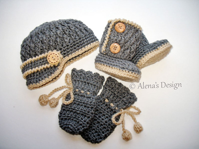 9bd478b0ea8d4 Crochet PATTERN Set - Crochet Patterns - Two-Button Baby Booties, Baby  Visor Hat, Baby Mittens - Newborn Baby Boy Baby Girl Hat Booties