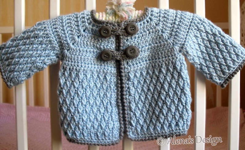 a07e65711 Crochet Pattern 192 Diamond Baby Jacket 3 6 12 24 months