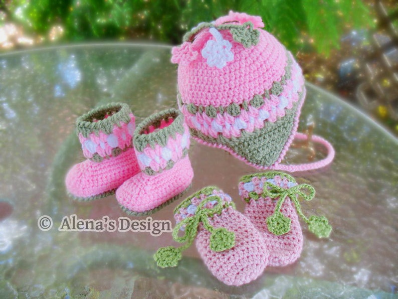 26c04f2231ed9 Crochet PATTERN Set Blossom Hat Baby Booties Baby Thumb-less Mittens  Crochet Patterns Baby Girl Toddler Children Ear Flap Hat Pink Booties