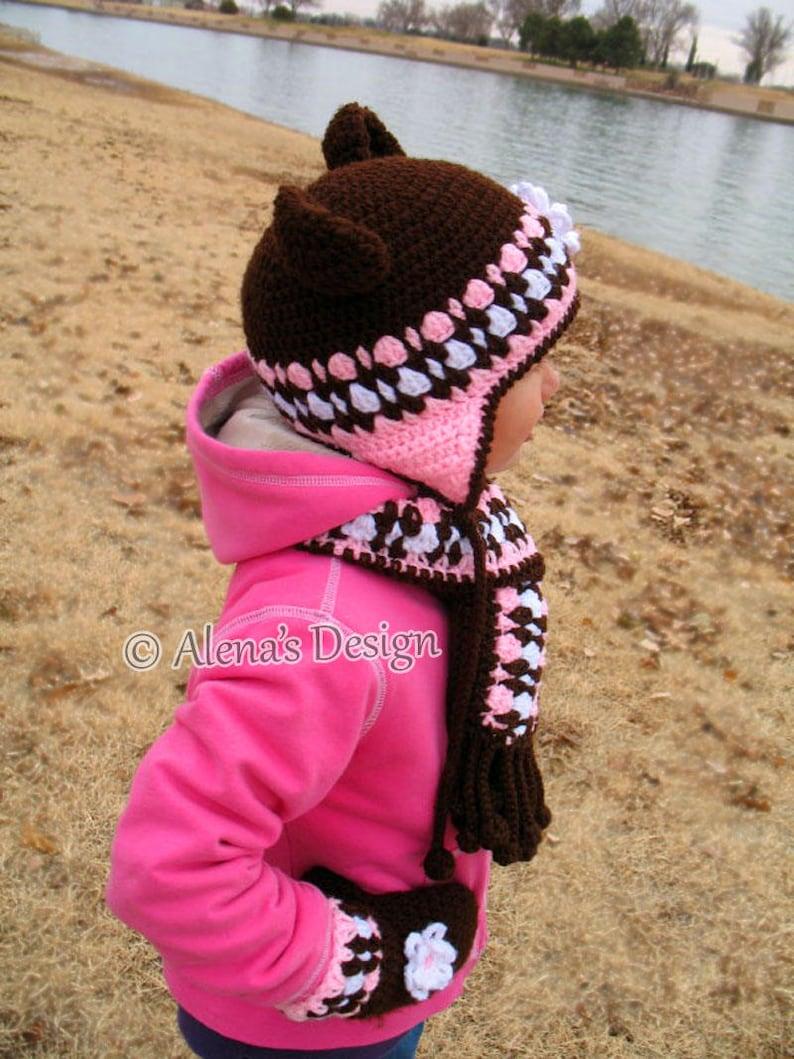 Crochet PATTERN Set Bear Hat Children/'s Mittens Scarf Girls Toddler Child Winter Set Earflap Hat Adult Scarf Brown Pink Mittens Christmas