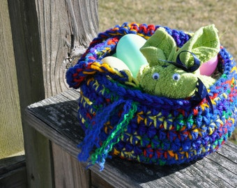 Hand Crocheted Basket, Blue/ Variegated