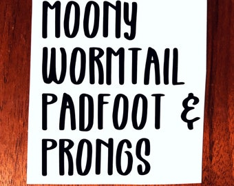 Moony, Wormtaul, Padfoot & Prongs Marauders Vinyl Decal