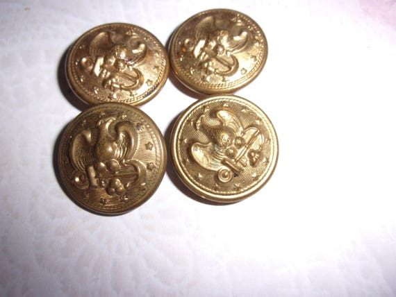 Antique brass eagle and anchor button, Eagle button, USA, Navy button,  Vintage Military Brass Button, Shank Button, Brass Buttons in 3 sizes