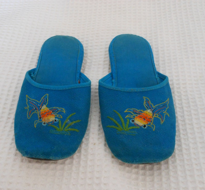 13799fa50609 Slippers shoes Dainty Blue Goldfish Vintage Chinese