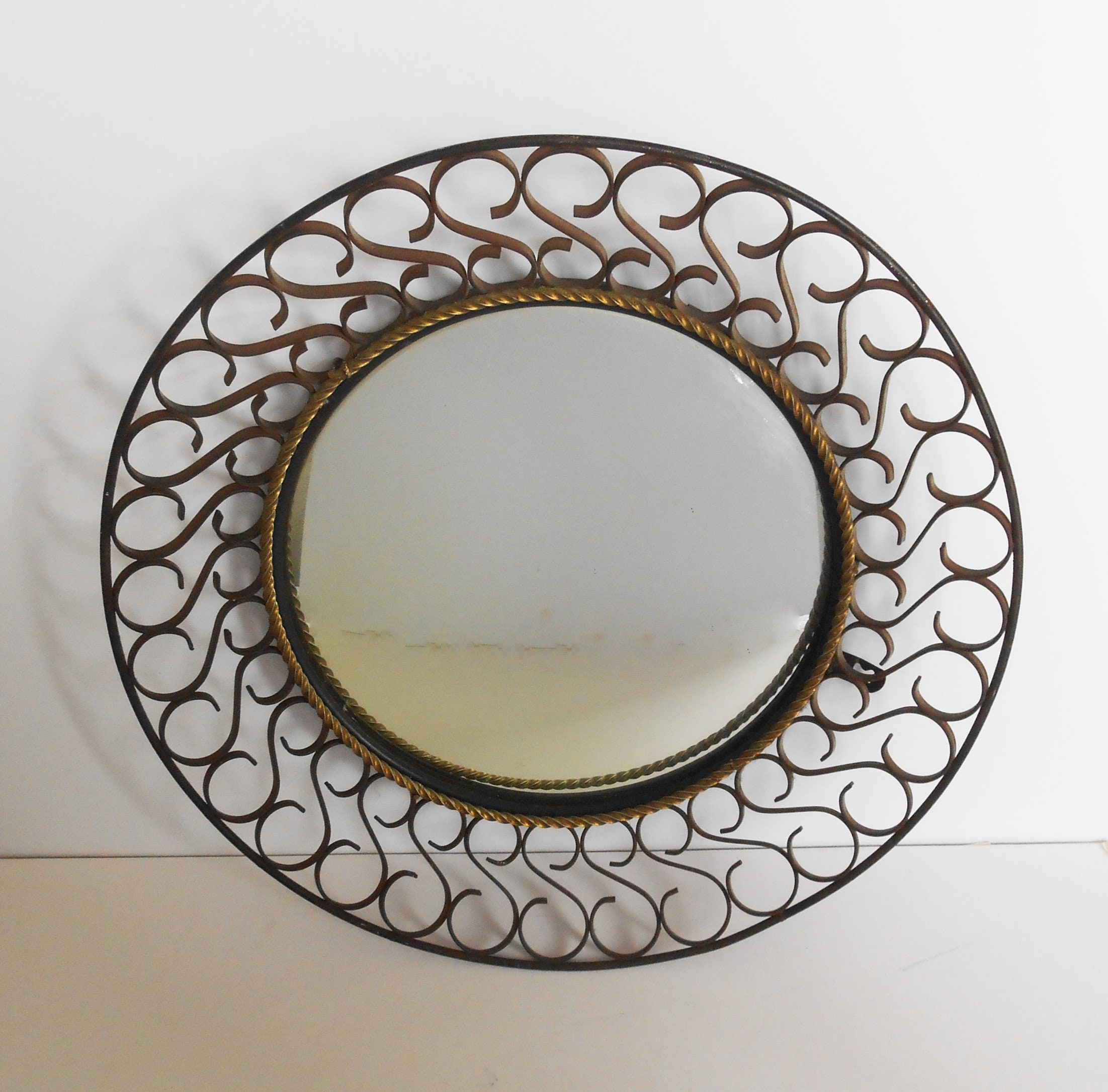Large Porthole Mirror Concave Wrought Iron Scroll Metal Frame Etsy