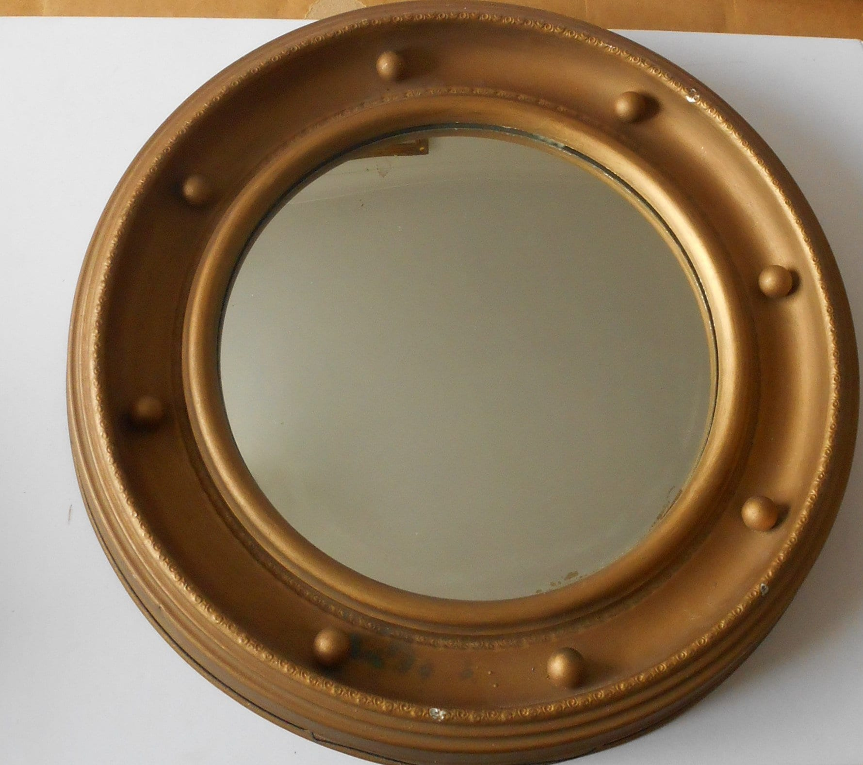 Large Porthole Mirror Concave Brass Gold Color Porthole Mirror Etsy