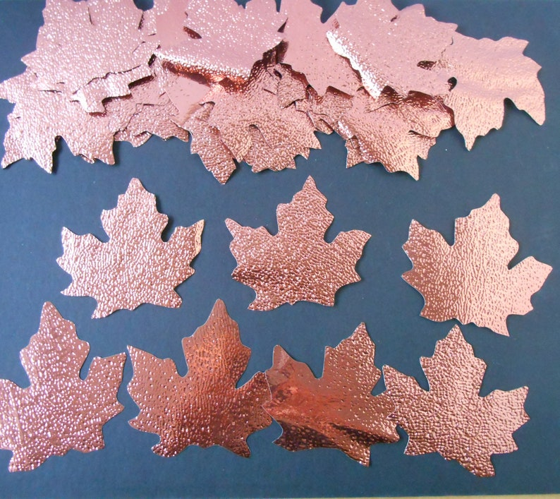 36 Rich Rose Gold  Maple Leaves textured plastic craft Supply Decor