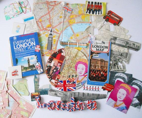 Vintage London Maps Paper Ephemera Large Craft Pack Colorful Etsy