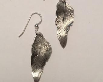 Feather earrings handmade fine silver