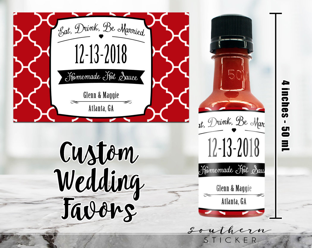 Custom Hot Sauce Favors Personalized Labels & Empty 50 mL