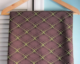 1970's Brown & Green Polyester Double Knit Fabric Yardage, Brown Textured Plaid Polyester Knit Fabric, Retro Brown Plaid Stretch Poly Knit