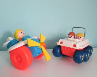 Vintage Fisher Price Airplane and Bouncing Buggy, 1970's Fisher Price Airplane, Fisher Price Bouncing Buggy, Push and Pull Toys