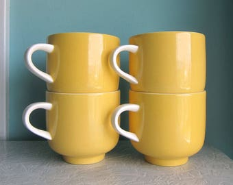 Mod Yellow Cups, Yellow Premiere Colorama Cups, Sunny Yellow Coffee Cups, Mid Century Yellow Coffee Cups, Yellow Teacups, Yellow Colorama