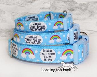 Personalised dog collar, handmade personalised dog collar, contact details dog collar, name phone number address, rainbow rainbows stars