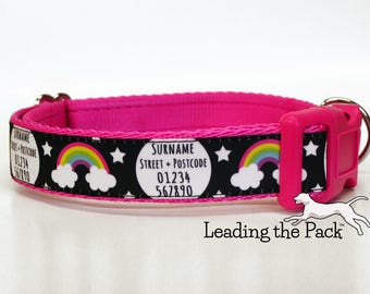 15mm/20mm/25mm wide handmade personalised dog collar, contact details dog collar, name phone number address, rainbow rainbows stars