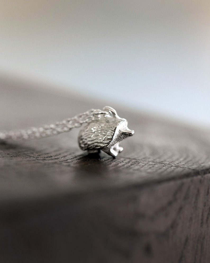 Hedgehog Necklace Sterling Silver Totem Jewelry Animal image 0