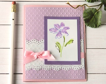 Daisy Birthday Card - Purple Flower Card - Gift Card Holder - Stampin Up Card
